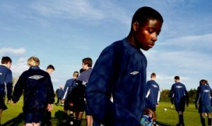 Jean Yves Poame trains with the Republic of Ireland under-15 squad prior to its departure to Qatar. Photograph: Cyril Byrne/Irish Times