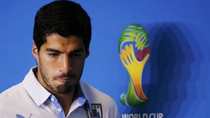 Uruguay's national soccer team player Luis Suarez attends a news conference prior to a training session at the Dunas Arena soccer stadium in Natal, in this June 23, 2014 file photograph. (Reuters)