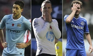 Samir Nasri, Roberto Soldado and Juan Mata have all endured somewhat frustrating starts to the 2013-14 season. Photograph: Sportsphoto/Corbis/AFP